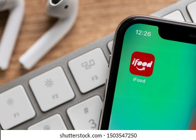 Sao Paulo, Brazil; September 12, 2019: ifood logo on the screen of the mobile device. ifood is a Brazilian company in the segment of food delivery, Brasilian Fintech.