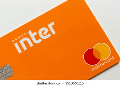 Sao Paulo, Brazil; September 12, 2019: Banco Inter Credit Card on a white background. Inter Bank is a Brazilian company in the segment of financial services and digital bank.