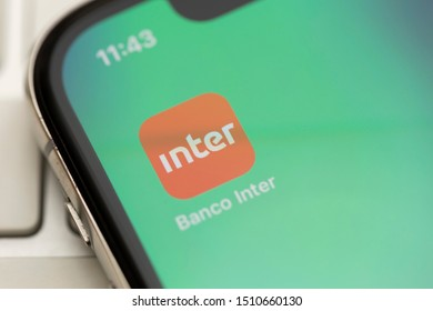 Sao Paulo, Brazil; September 12, 2019: Inter Bank logo on the screen of the mobile device. Banco Inter is a Brazilian company in the segment of financial services and digital bank.