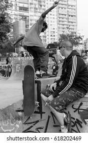 SAO PAULO, BRAZIL - SEPTEMBER 17, 2016: Skateboarders practice in  the new Roosevelt Square.