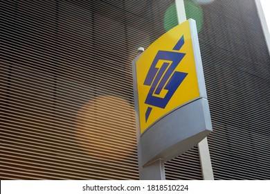 """Sao Paulo, Brazil - september 19, 2020 - logo of """"Banco do Brasil"""" bank branch. Facade of bank branch, advertising sign and logo."""