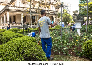 Sao Paulo, Brazil, September 20, 2017. Beginning of planting of roses during the restoration of the Casa das Rosas garden, on Paulista Avenue, central region of Sao Paulo.