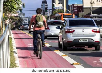 SAO PAULO, BRAZIL, September 20, 2014. Bicycle lane in downtown Sao Paulo