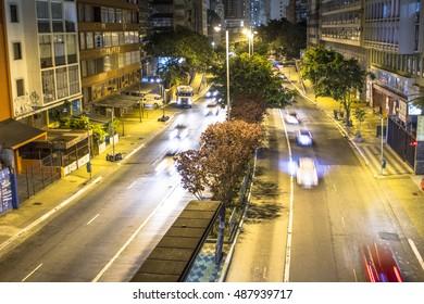 Sao Paulo, Brazil, September 22, 2016. Nove de Julho Avenue at night in downtown Sao Paulo