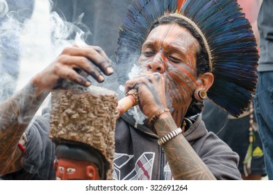 Sao Paulo, Brazil, September 7, 2015: Tupinamba Indians in Ritual act in Support of Indigenous Peoples at the Paulista Avenue.