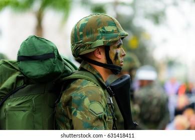 Sao Paulo, Brazil, September  7, 2016: Infantry trotters during the 7 September Parade, Sao Paulo, Brazil.