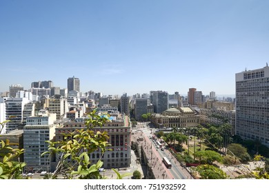 Sao Paulo city in Brazil. Aerial view of buildings and Municipal Theater.
