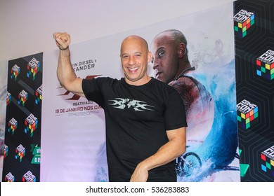 """SAO PAULO, DECEMBER 01, 2016: Vin Diesel during Comic Con Experience (CCXP). Actor  attends the Sao Paulo city premiere of """"xXx."""" at event."""