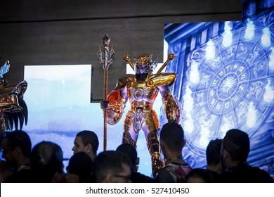 SAO PAULO - DECEMBER 1, 2016: bandai saint seiya booth in Sao Paulo Comic Con Experience, the annual pop culture and fandom convention in Brazil.