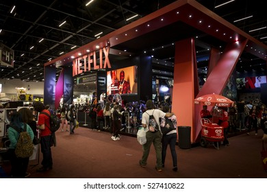 SAO PAULO - DECEMBER 1, 2016: Netflix booth in Sao Paulo Comic Con Experience, the annual pop culture and fandom convention in Brazil.