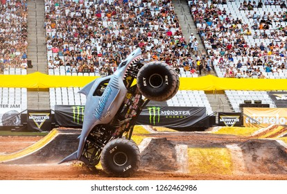 Sao PauloDecember 15, 2018Megaloon in action during a round of racing. Monster Jam competition was held at Corinthians Stadium, in Sao Paulo, Brazil.