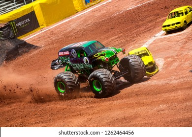 Sao PauloDecember 15, 2018Grave Digger in action during a round of racing. Monster Jam competition was held at Corinthians Stadium, in Sao Paulo, Brazil.