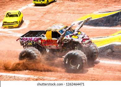 Sao PauloDecember 15, 2018Zombie in action during a round of racing. Monster Jam competition was held at Corinthians Stadium, in Sao Paulo, Brazil.