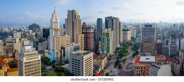 Sao Paulo Downtown Panorama Skyline - Brazil