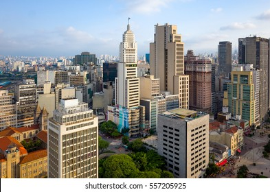 Sao Paulo Downtown Skyline Aerial View - Brazil