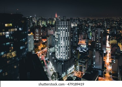 Sao Paulo Famous Buildings Aerial Night View - Brazil