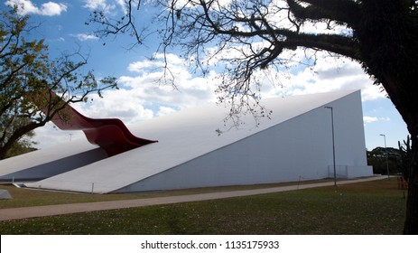 SAO PAULO - JUL 24: The Theater  in Ibirapuera Park on July 24, 2010. The theater is one of the landmarks of Ibirapuera Park, which is a major urban park in Sao Paulo.