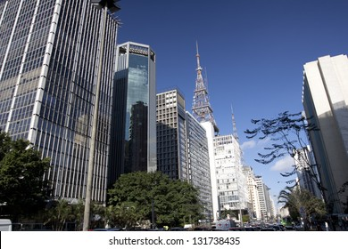 SAO PAULO - JUL 30: The commercial buildings on Avenida Paulista on July 30, 2010 in Sao Paulo, Brazil. Avenida Paulista is the busiest street in this biggest financial center in South America.