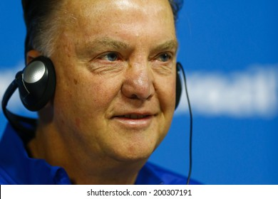 SAO PAULO - JUNE 22:  Van Gaal on a press conference at Arena Corinthians on June 22, 2014 in Sao Paulo, Brazil. NO USE IN BRAZIL