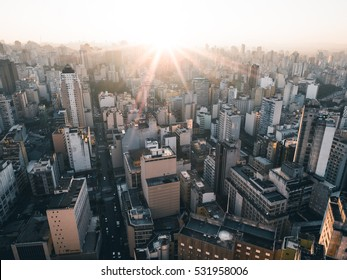 Sao Paulo Muted Aerial Skyline at Sunset - Brazil