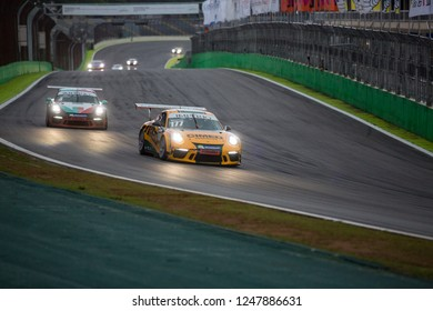 Sao Paulo November 23, 2018  Car in action during the final stage of the 2018 Brazilian Porsche GT3 Cup championship at Interlagos circuit. The race in doubles was 500 km long, with almost 4 hours.