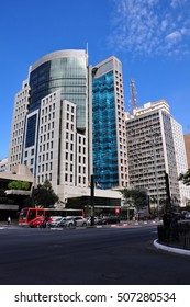 SAO PAULO - October 5: Commercial buildings on Avenida Paulista on 5 October, 2014 in Sao Paulo, Brazil. Avenida Paulista is is one of the most important avenues in Sao Paulo, Brazil.