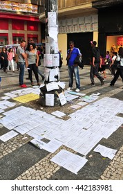 Sao Paulo - October 5: People reading job offers on an improvised advertising column on October 5, 2014 in Sao Paulo, Brazil. The unemployment rate in Brazil was 6.9 percent in December of 2015.