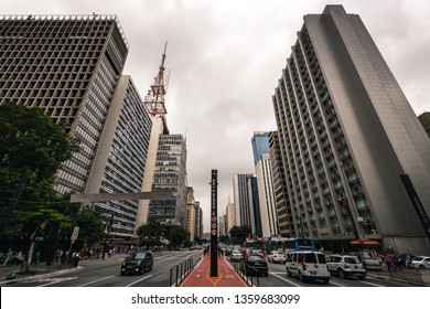 Sao Paulo: Paulista Avenue traffic during a cloudy day, on January 22nd, 2016.