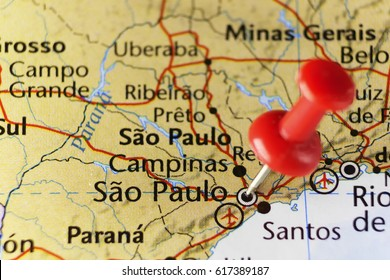 Sao Paulo pinned map, Brazil. Copy space available.