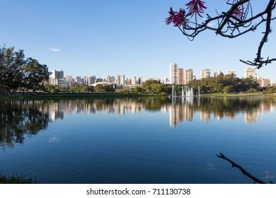 Sao Paulo skyline from Ibirapuera Park, Sao Paulo, Brazil.