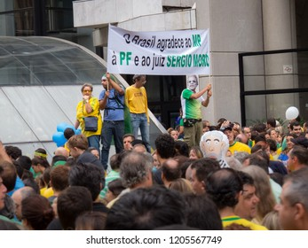 Sao Paulo, SP, Brazil - 03/13/2016 - Public demonstration on Paulista Avenue demanding President Dilma Rousseff's immediate impeachment - sign reads Brazil thanks Federal Police and Judge Moro