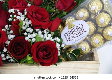 Sao Paulo, SP / Brazil - 06 June, 2017. Ferrero Rocher chocolates and flowers.