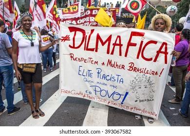 Sao Paulo, SP, Brazil. 18th Mar, 2016. Mass demonstration pro government Dilma Rousseff and favour to maintain former president Luiz Ignacio Lula Da Silva as chief of staff in Paulista Avenue.