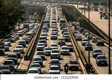 Sao Paulo, SP, Brazil, April 04, 2017. Heavy traffic on the East-West connection, Radial Leste Avenue, at morning day, in downtown Sao Paulo.