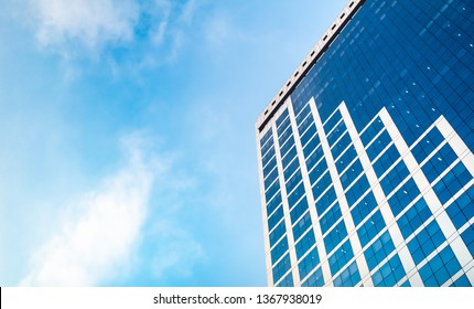 Sao Paulo, SP - Brazil. April, 12, 2019. Photograph of a beautiful building located on the Paulista Avenue in harmony with a lubdo blue sky