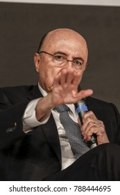 Sao Paulo, SP, Brazil - aug , 24, 2017- Henrique de Campos Meirelles is brazilian's minister of finance and candidate for the presidency of brazil in this year's elections during a press conference