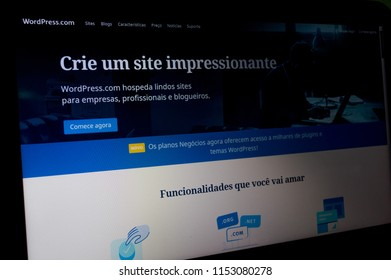 SAO PAULO, SP, BRAZIL - AUGUST 08, 2018 - Home page of website Wordpress blog seen by a laptop, site presentation screen view