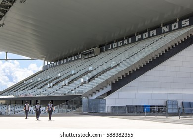 Sao Paulo, SP, Brazil, February 23, 2017. Arena Corinthians in Itaquera, known as Itaquerao, is the new soccer stadium of the Sport Club Corinthians Paulista, in the east zone of Sao Paulo.