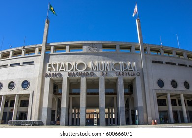Sao Paulo, SP, Brazil, February 23, 2017. Facade of the Municipal Stadium of Pacaembu, called Paulo Machado de Carvalho, where the Football Museum is located, in Charles Miller Square, Sao Paulo