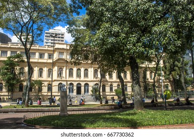 Sao Paulo, SP, Brazil, February 23, 2011. Facade of the old Normal School Caetano de Campos, Headquarters of the Secretary of Education of the State, in Republica Square, downtown Sao Paulo, SP.