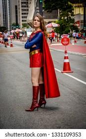 Sao Paulo, SP, Brazil - January, 4, 2018: A supergirl cosplay