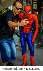 Sao Paulo, SP, Brazil - January, 4, 2018: A spiderman cosplay in the city.