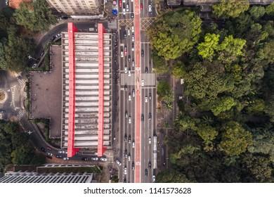 Sao Paulo, SP / Brazil: July 20 2018: Top View of MASP Museum in Paulista Avenue, Sao Paulo, Brazil