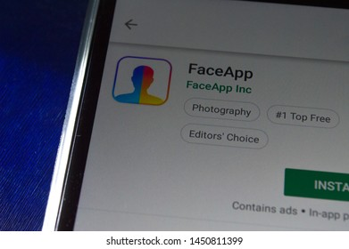 SAO PAULO, SP, BRAZIL - JULY 14, 2019 - FaceApp (portrait editor) for download showned on Play Store app for Android smartphone. Mobile device technology concept