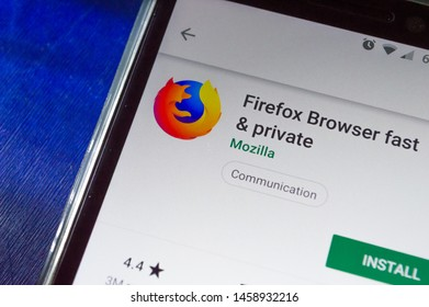 SAO PAULO, SP, BRAZIL - JULY 22, 2019 - Firefox (web browser) for download showned on Play Store app for Android smartphone. Mobile device technology concept
