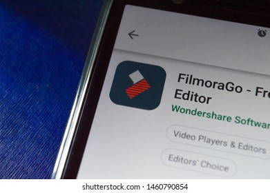 SAO PAULO, SP, BRAZIL - JULY 22, 2019 - Filmora (video editor) app for download showned on Play Store app for Android smartphone. Mobile device technology concept