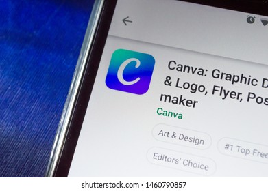 SAO PAULO, SP, BRAZIL - JULY 22, 2019 - Canva (photography editor) app for download showned on Play Store app for Android smartphone. Mobile device technology concept