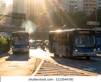 Sao Paulo, SP, Brazil, June 12, 2018. Traffic jam on 23 de Maio avenue, both directions, with flare light, in south zone of Sao Paulo,
