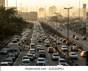 Sao Paulo, SP, Brazil, June 26, 2018. Heavy traffic on the East-West connection, Radial Leste Avenue, at morning day, in downtown Sao Paulo.