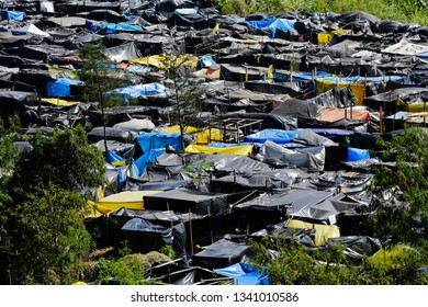Sao Paulo, SP / Brazil - June, 12, 2014:  Shacks are build in a land occupied by Members of the Homeless Workers Movement.